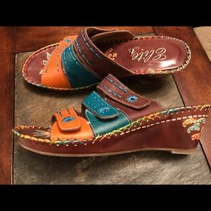 Elite by Corkys leather slide sandals EUC